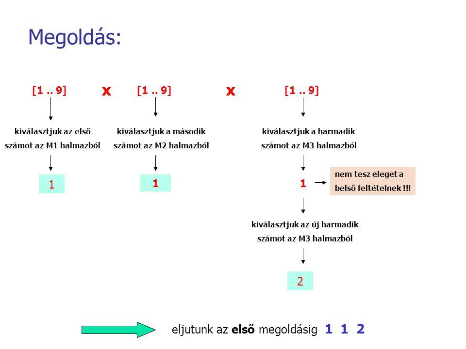 Megoldás: x x 1 2 eljutunk az első megoldásig 1 1 2 [1 .. 9] [1 .. 9]